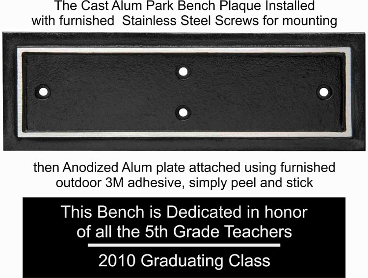 Outdoor Aluminum Park Bench Plaque