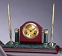 Rosewood & Marble Clock with Pen