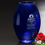 Cobalt Barrel Vase 10-1/2