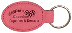 Pink Leatherette Oval Keychain