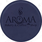 Round Blue Leatherette Coaster