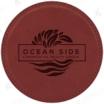 Round Rose Leatherette Coaster