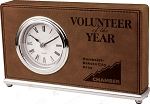 Dark Brown Leatherette Horizontal Desk Clock