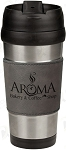 16 oz. Gray Leatherette Stainless Steel Travel Mug