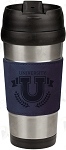 16 oz. Blue Leatherette Stainless Steel Travel Mug