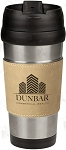 16 oz. Light Brown Leatherette Stainless Steel Travel Mug