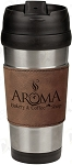 16 oz. Dark Brown Leatherette Stainless Steel Travel Mug