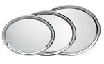 Tall Plain Oval Engravable Chrome Tray