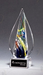 Flame-Shaped Art Glass Award Clear Glass Base