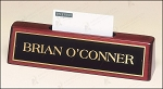 Rosewood Piano Finish Nameplate with Business Card Holder 8-1/4