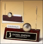 Golf-themed Rosewood Piano Finish Desk Accessory. 9