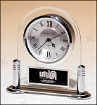 Glass Clock with Silver Accents 6-1/8
