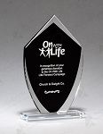 Shield Shaped Glass Award with Black Center