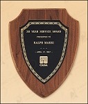 American Walnut Shield Plaque with a Black Brass Plate 7-1/4