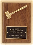 American Walnut Plaque with Gold Tone Metal Gavel 5