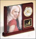 Rosewood Piano Finish Photo Desk Clock 6-3/4
