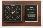Fireman Walnut Clock Plaque