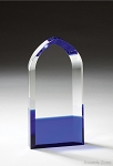Optical Crystal Award Cool Blue Series Cathedral Top