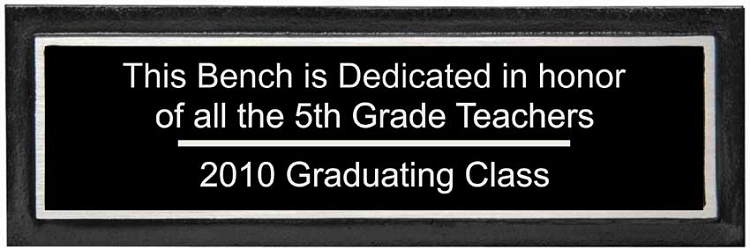 Outdoor Aluminum Park Bench Plaque
