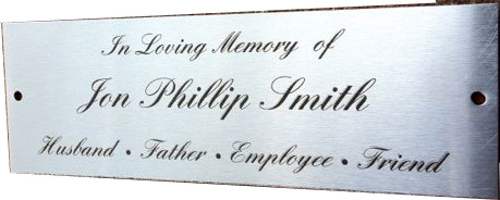 Stainless Steel Park Bench Plaque