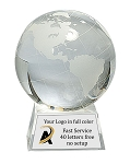 CRYSTAL GLOBE W/CLEAR BASE
