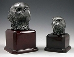 EAGLE HEAD TROPHY ON ROSEWOOD BASE
