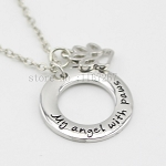 My Angel with Paws - Pet Memorial Necklace with Paw Print & Silver Pendant