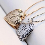 Photo Frame Memory Locket Necklace with Paw Print