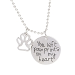 Paw Prints On My Heart - Pet Memorial Pendant with Charm Necklace