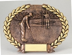 Bronze Resin Oval Plate Male Golfer