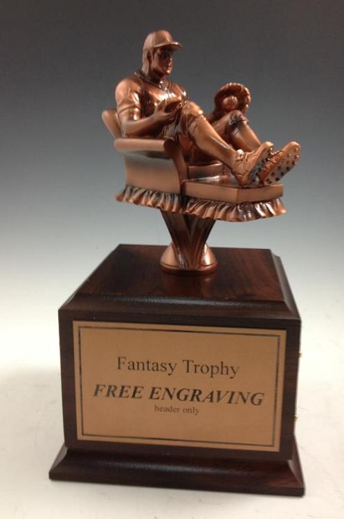 arm chair warrior fantasy baseball trophy