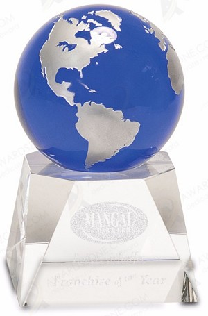 LARGE CRYSTAL BLUE GLOBE W/CLEAR BASE