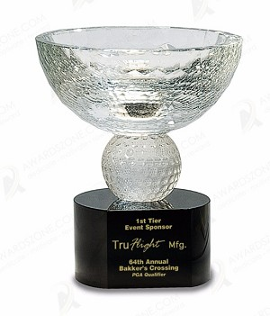 5 3/4 inch Crystal Golf Bowl on Black Pedestal Base