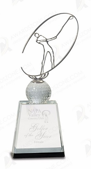 11 inch Clear/Black Crystal Golf Award with Silver Metal Oval Figure