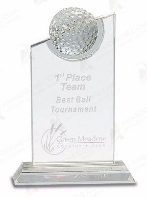 7 inch Clear Crystal with Inset Crystal Golf Ball on Clear Base