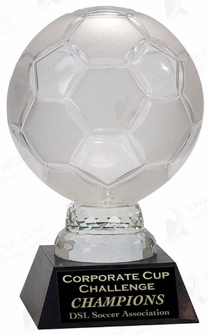 11 inch Glass Soccer Ball with Marble Base