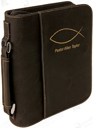 "7 1/2"" x 10 3/4"" Black Leatherette Book/Bible Cover with Zipper & Handle"
