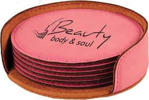 Round Pink Leatherette 6-Coaster Set