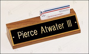 American Walnut Name Plate with Business Card Holder 8