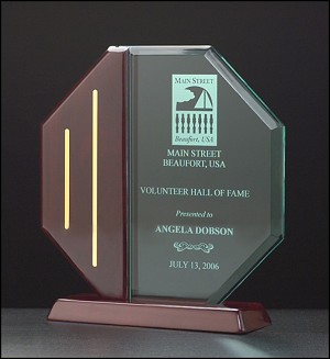 Octagon Acrylic Award on a Piano Finish Base. 8-1/8
