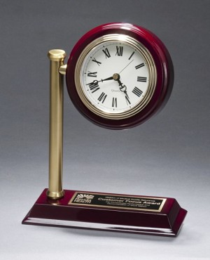 "Rail Station Rosewood Piano Finish Photo Desk Clock 7"" Wide X 9"" Tall"