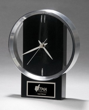 "Black and Silver Modern Design Clock 5-5/8"" Wide X 7-3/4"" Tall"
