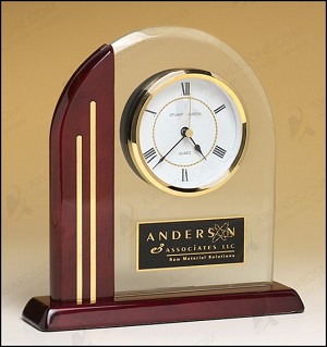 Arched Clock with Rosewood Piano Finish Post and Base 7-1/2