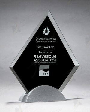 Diamond Series Glass Award with Silver Metal Base 6-1/4