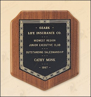 Walnut Shield Plaque with a Black Brass Plate. American Made