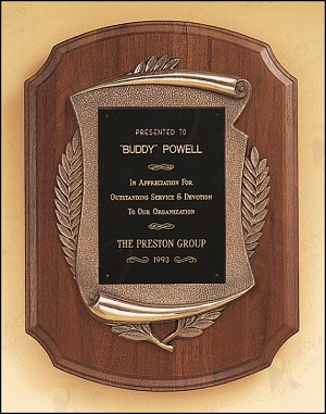 "American Walnut Plaque with Antique Bronze Frame 11"" Wide X 15"" Tall Brushed Brass Plate"