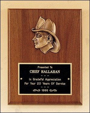 "Fireman Award with Antique Bronze Finish Casting. 7"" Wide X 9"" Tall"