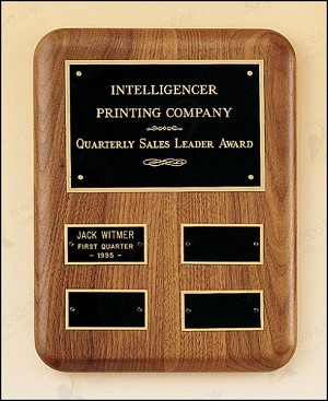 "Solid American Walnut Quarterly Award Plaque 8"" Wide X 10-1/2"" Tall"