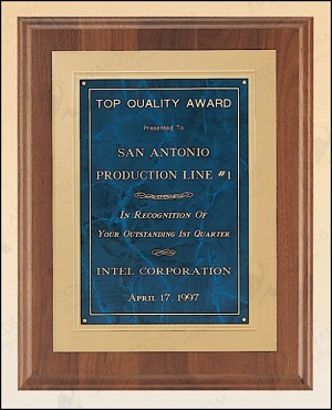 American Walnut Plaque with Gold Embossed Frame 12