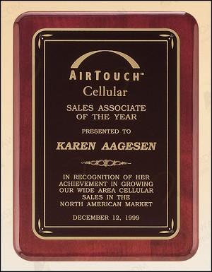 Rosewood Piano Finish Plaque with Brass Plate 7